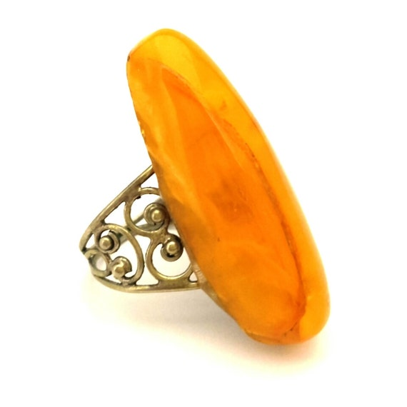 Huge Amber Baltic Ring Vintage Genuine 6.20 Gr Egg Yolk Excellent Color