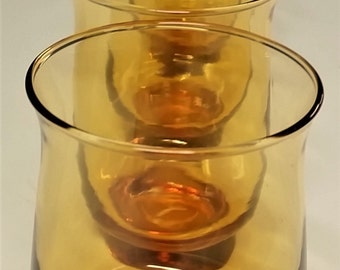 MId Century Vintage Retro Libbey 'Early' Tempo Honey Amber Pattern Beverage Drink Glasses Libbey Honey Amber Tempo Drinkware Set Four