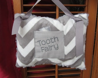 Tooth Fairy Pillow:  READY TO SHIP,  gray chevron minky front, gray striped minky back