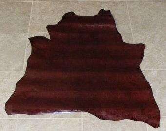 XYE7721-8) Hide of Glossy Burgandy Reptile Print Lambskin Leather Skin