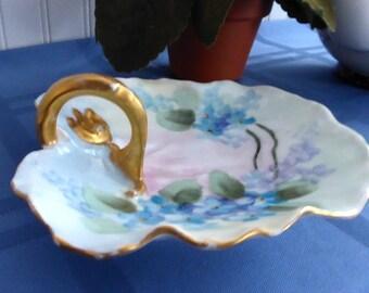 Edwardian Hand Painted Lemon Dish T&V Limoges France Blank 1910 Handled Dish