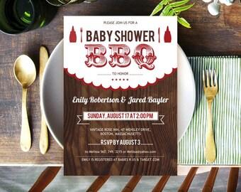 Printable Baby BBQ Shower Invitation card, Rustic Backyard baby-Q Invitation card, Baby boy girl barbecue, gender neutral, DOWNLOAD PDF