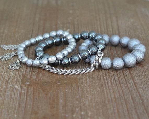 LAST ONE - Silver Beaded Tassel Bracelet - Tassel Bracelet Set - Fringe Bracelet - Gray Bead Bracelet - Beaded Stretch Bracelet Stack
