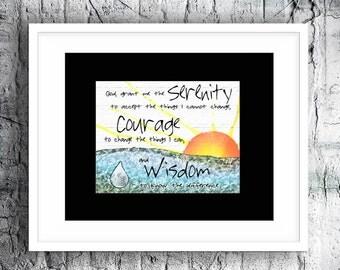 Serenity Prayer, Inspirational, boho wall art, 16x20 or 11x14 Black Matted Print, Designs from my original art (No Frame)