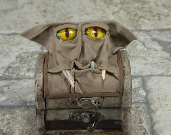 Monster Treasure Chest Desk Organizer Trinket Box Ring Box Small Storage Stash Gray Leather Harry Potter Labyrinth