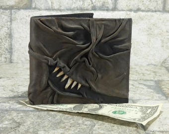 Day Of The Dead Necronomicon Evil Dead Leather Wallet Goth Black Brown Zombie Monster Face Horror Gamer Fantasy Fathers Day Gift