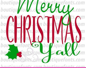 Merry Christmas Yall SVG Cut File - Instant Download