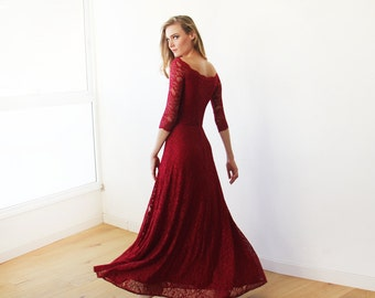 Off-The-Shoulder Bordeaux Floral Lace Long Sleeve Maxi Dress 1119