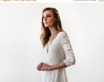 Spring Sale Ivory long sleeves lace wedding gown, Lace bridal gown, Ivory lace wedding empire dress 1124