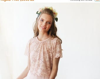 30% OFF - Blush Birthday Lace pink short sleeves top , Pink bridal lace top 2037