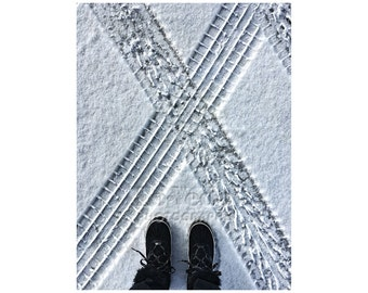 Snow Photography, Ski Cabin Decor, Black and White, Graphic Pattern, Winter Boots, Bold Graphics