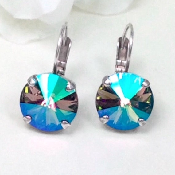 Swarovski Crystal 12MM Drop Earrings - Classy & Feminine - Paradise Shine - Or Choose Your Favorite Color and Finish-  FREE SHIPPING