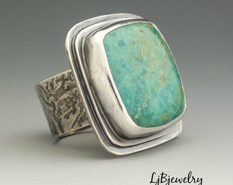 Silver Turquoise Ring, Statement Ring, Turquoise Jewelry, Turquoise, Silver,  Metalsmith Jewelry, Handmade Jewelry, Artisan Jewelry