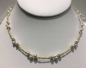 Genuine Pearl Braided Into 14K Gold Wire Necklace