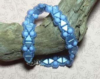 Baby Blue Bracelet Light Blue Bracelet Sky Blue Bracelet Bead Stitch Bracelet Blue Bead Bracelet Flat Beaded Bracelet Bead Woven Bracelet