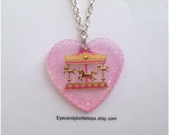 Carousel Resin Charm Necklace