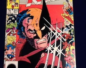 vintage 1986 uncanny x-men #211 marvel comic book mutant massacre vf+