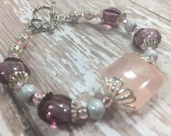 Pale Pink Silver Filigree Bead Bracelet with Toggle Clasp