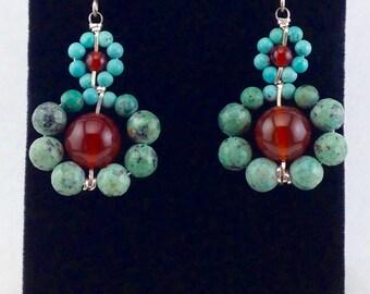 Dangle earrings silver,silver drop earrings,turquoise beads,turquoise earrings, beaded earrings, carnelian gemstone earrings,wrapped stones