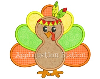 Indian Turkey Applique Machine Embroidery Design orange harvest thanksgiving Fall INSTANT DOWNLOAD