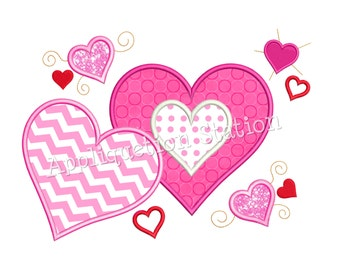 Valentine Heart Collage Applique Machine Embroidery Design pink red INSTANT DOWNLOAD