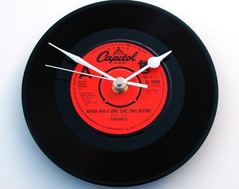 """Tavares Vinyl Record CLOCK from recycled 7"""" single """"Never Had A Love Like This Before"""" Disco Queen Fun Mothers Day Gift women red black"""