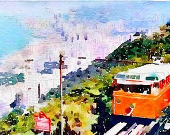 Watercolor Print - HongKong Peak Tram - cityscape