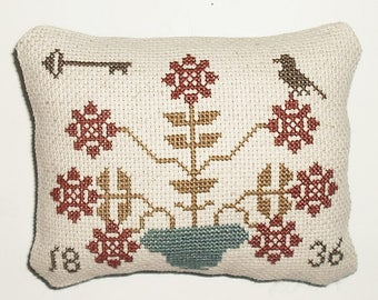 Completed Cross Stitch Primitive Summer Blooms Pinkeep Pillow Tuck