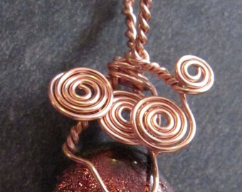 Copper Sunrise Pendant Necklace, OOAK Necklace, Eco Friendly, Copper Wire Wrapped Glass Pendant, Upcycled Glass, Fair Trade, Vegan Friendly