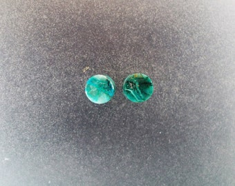 "Chrysocolla Malachite 1/4"", 2g Ear plugs one pair"