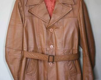 vintage brown leather jacket men's size 42