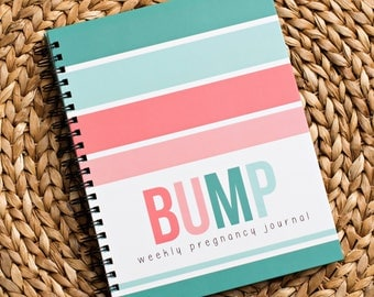 Bump Book™ - Pregnancy Journal - Pregnancy - Baby Book - Modern Baby Book - Coral + Teal