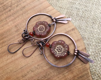 Rustic Bohemian * 'Just a flower' earrings n.147 - Czech flower . large flower . boho jewelry . artisan jewelry . copper fringes . tribal