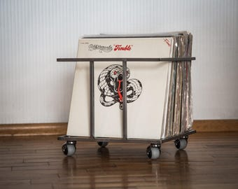 """12"""" Vinyl LP record storage metal crate // minimalistic container on four free rotating wheels // holds 70 LP records // free shipping"""
