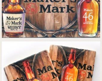 Bourbon Lover Gift Set, Makers; whiskey bar drinkware coaster; wall art decor oil painting print; wedding hostess present for him man cave