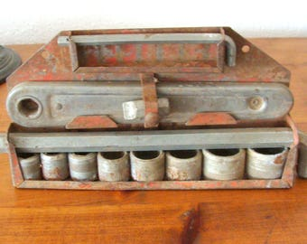 "Old 1930's New Britain ""None Better"" Socket Set w/ Original Mounting Rack"