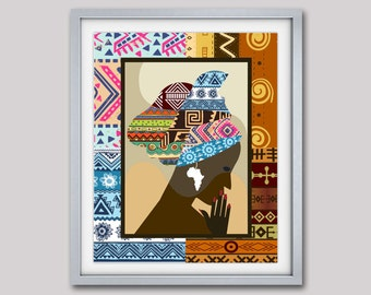 African Woman,  African Print, African Wall Decor, African Wall Art, African Fabric design Art