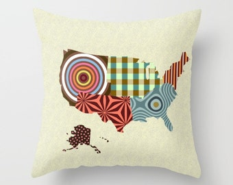 Us Map Pillow Etsy - Cute us map