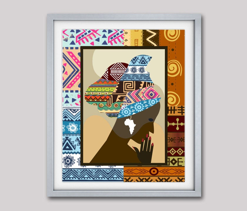 African woman african print african wall decor african for African mural painting