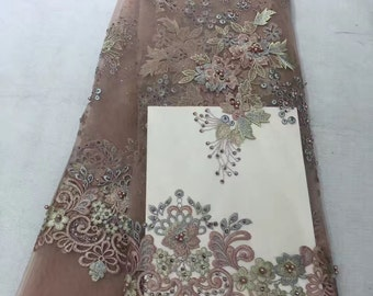 ivory alencon lace fabric with retro floral, cord lace fabric, bridal lace fabric, Jacquard lace fabric by the yard