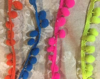 Pom Pom Trim Ribbon, PomPom Trim, By the Metre, Neons, 10mm, Cushion, Dress Edging