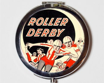 Roller Derby Comic Compact Mirror - Retro Vintage Roller Girl Ad - Make Up Pocket Mirror for Cosmetics