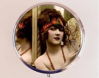 Flapper Mirror Fan Pill Box Case Pillbox Holder Stash Trinket Box Art Deco 1920s 20s Jazz Age