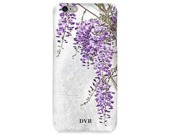 Wisteria print monogram phone case - Wisteria, floral phone case, iPhone 7 Plus case, iPhone SE case, Samsung Galaxy S8 Plus case, initiald