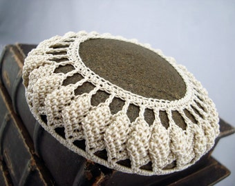 Ecru Crocheted Lace Stone Home Decor, Collectible Fiber Art, Unique Gift for Home or Office, Handmade, Christmas Gift For Him or Her