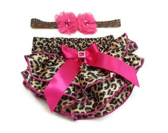 Ruffle Bloomers for Girls Set - Leopard and Hot Pink - Ruffle Bloomers - Matching Headband - Adorable - Baby Outfit