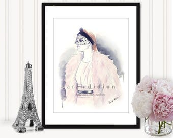 Fashion Illustration Art Print from Original Watercolor, Fashion Art