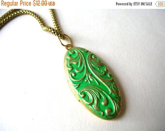 Green Locket Necklace - Brass Locket - Art Nouveau Locket Necklace