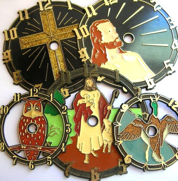 Religious Flat Acrylic: Vintage Clock Face Lot
