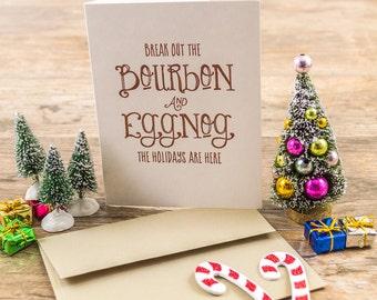 Letterpress Holiday Greeting Card - Bourbon and Eggnog
